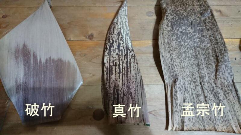 竹皮の比較(表)