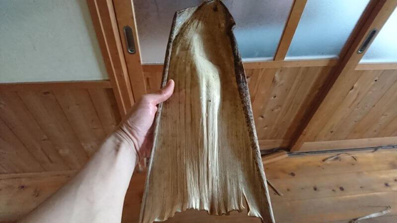 乾燥させた竹皮